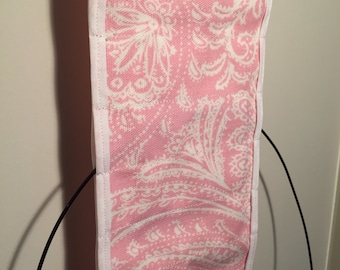 Pink & White Hanging Circular Knitting Needle Organizer 6' wide, Needle Case, Clutter Reducer