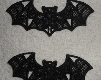 UK Set of 3 Black gothic lace bat applique, trimming, choker centerpiece, cuff, hand made