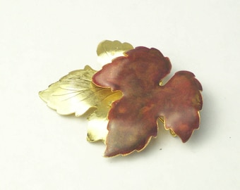 Autumn Fall Wardrobe Brown Enamel Gold Maple Leaf Vintage 1960's BROOCH Pin Mid Century Costume Jewelry Gift For Her Best Deal
