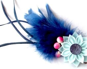 Dramatic Theatrical Feather Hair Flower in Dark Blue Aqua and Pink Tsumami Kanzashi Clip Fascinator