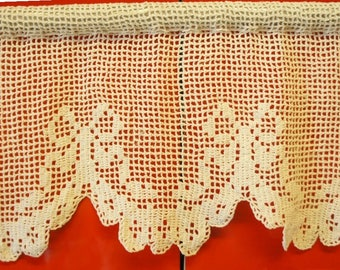 """CROCHET CURTAIN for full window (1.5m = 59""""). 100% hand made. Knitted work with cute bows."""