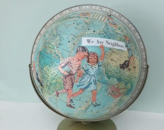 Handmade Altered Art Vintage Rand McNally World Portrait Globe with Decoupaged Images of Children from a 1940s Primer