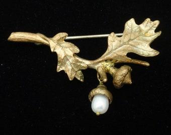 Acorn Oak Leaves Branch Pin Brooch Vintage
