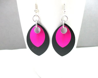 Black and Pink Scalemaille Earrings