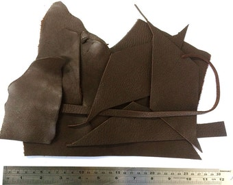 Leather scraps Bookbinding offcuts Craft diy kit Full grain leather scraps Jewellery scraps Leather remnants Cowhide scraps Bag of leather