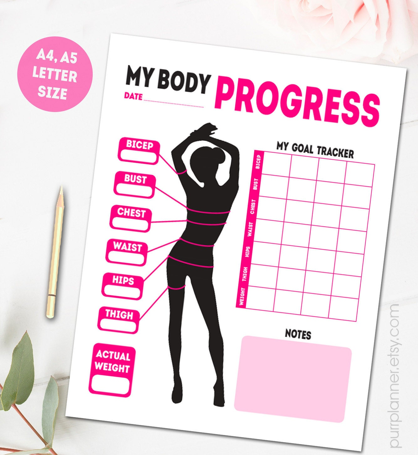 Printable body measurements fitness goal tracker weight zoom nvjuhfo Choice Image