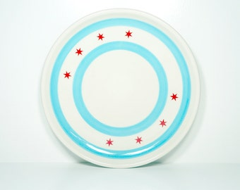 Made in Chicago porcelain Chicago Flagware platter decorated with the chicago flag motif.  Made to Order.