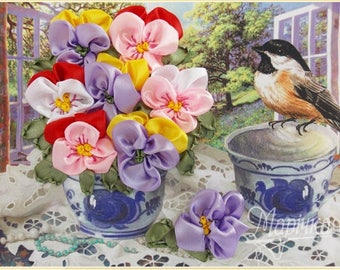 Flowers and a bird Ribbon embroidery kit DIY kit Hand embroidery Needlepoint kit Embroidery kit Gift fir her