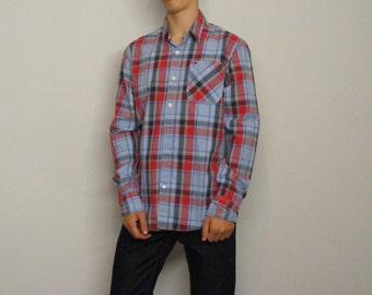 Mens Medium Civil War Multi Plaid Homespun Cotton Shirt in stock VqBWpp4B