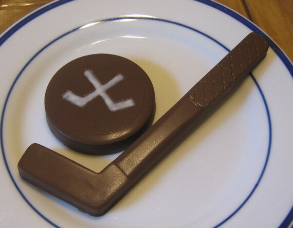 Solid chocolate hockey stick and hockey puck