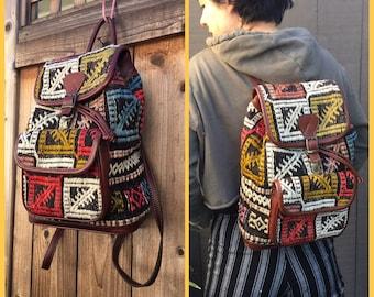 YUN ART TURKISH Kilim Vtg Rug & Leather Convertible shoulder to backpack bag