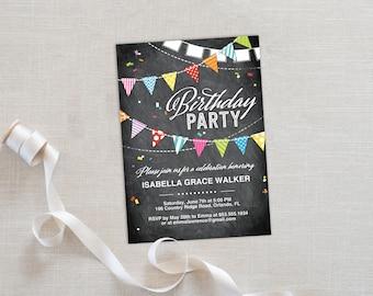 Birthday Party Invitation Template | Editable Invitation Printable | Birthday Party Invite Chalkboard Flags | No. PB 2022D