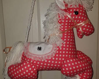 Pink and White Dots Carousel Pony