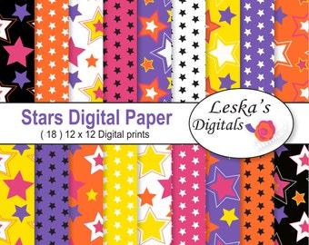 Stars Digital Paper, Star digital paper pack, blog background, star paper pack - Star scrapbook digital paper pack - star background