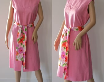 CLEARANCE - Radiant 60's Pink Summer Dress with Floral Belt