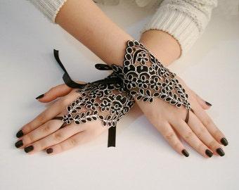 Black lace gloves silver hand jewelry, black bridal gloves, black wedding gloves