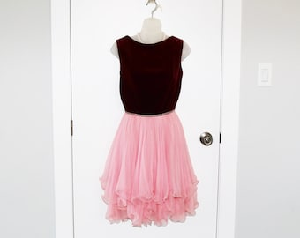 Frilly and fabulous vintage dress in deep red velvet and pink - perfect for prom XS