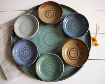 Seder plate, ceramic passover plate, tapas plates, serving tray and dishes, sushi tray, passover gift idea, wedding gift, pesach, judaica