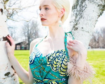 Halter Wrap Dress in African Wax Block Cotton