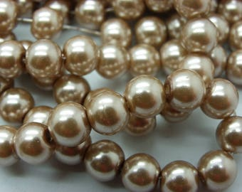 100 glass beads 8 mm beige sand Pearl
