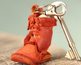 Leather key fob. Orange shoe. Leather key chain, unisex keychain. Anniversary gift. Birthday gift. Christmas Gifts. Women gift. Men gift.