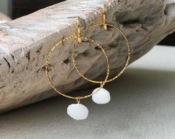 Large White Agate Hoop Earrings in Gold or Silver