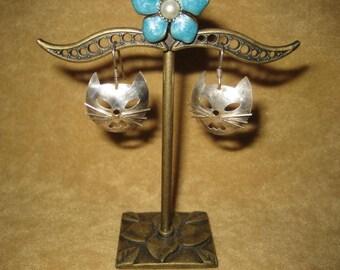 Sterling Silver Cat Earrings Pierced Vintage