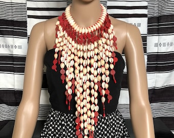 African Beaded Necklaces| African Jewlery | Handmade Jewelry | Tribal Necklace | Ethnic Jewelry | Cowries Necklace  | One Size Fits All