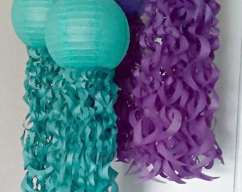 Mermaid Party Decorations-Jellyfish lanterns-Nursery Decor Mobile-Baby Shower Decor- Wedding Decor-Purple & Teal-Set of 4