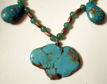 Turquoise Necklace - Big Turquoise Pendant - Genuine Turquoise Beads - One Of A Kind Unique Design