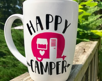 Happy Camper Coffee mugs   ~ Camper ~ Camping ~ Coffee ~ Coffee Mug ~ ON SALE!