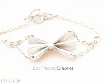 EcoFriendly Products: Sweet Bow Bracelet, Recycle Fashion Silver Plated Soda Can Jewelry Casual by Alicia Del Bosque