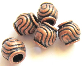 30 Red copper beads exotic metal  spacer beads jewelry supply F11506- (W5)