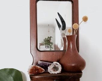 Wooden mirror   Mirror and shelf   Vintage mirror   Shelving   Wall rack