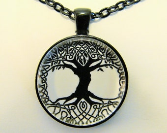 TREE OF LIFE Necklace -- Celtic endless knot spiritual art necklace for him and her in black and white, Symbol of unity and harmony