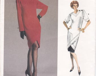 FREE Us SHIP Vogue 1998 YSL High Fashion Dress 1987 Designer Yves Saint Laurent Uncut Size 8 10 Bust 31.5 32.5 Vintage Retro 1980s 80s