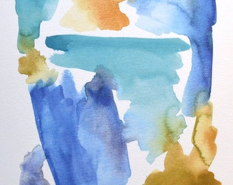 Blue Abstract Watercolor Print