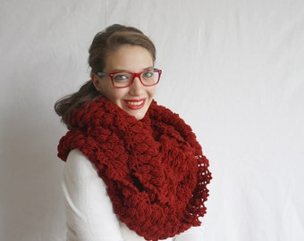 Dark Red Infinity Loop Circle Cowl Scarf Gift For Her for Women's  Christmas gift