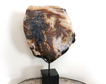 Agate, Museum mounted, Brown, white, Mineral, Gem, Rock, fossil, gift for friend