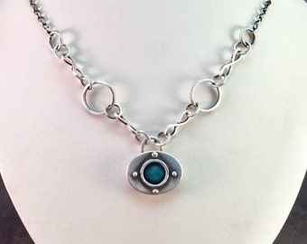 25% Off Turquoise Cabochon 14kt Gold Sterling Silver Metalwork Riveted Box Necklace Pendant