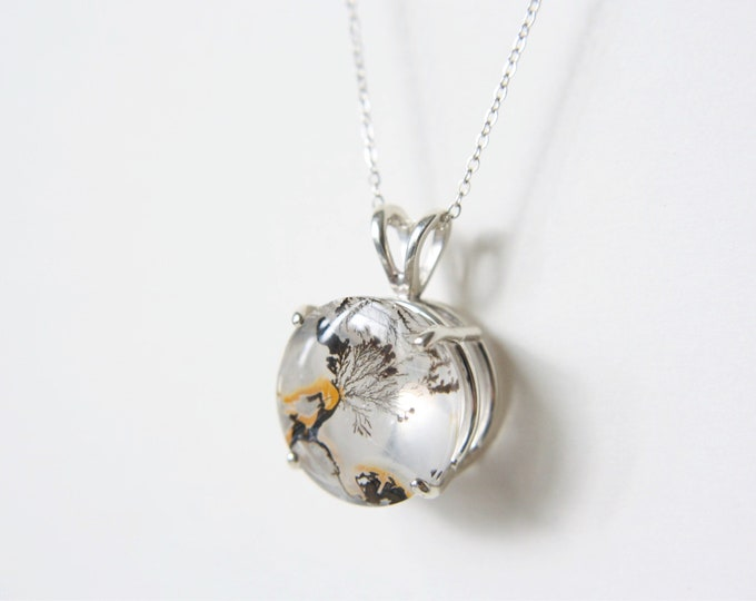 16mm Round Dendritic Quartz Pendant Necklace