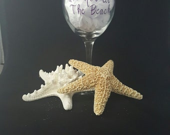 I Wine Because I'm Not at the Beach Wine Glass embellished with flip flops.