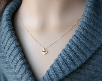 Lotus Flower Necklace / Tiny Small Gold Lotus Pendant on a Gold Filled Chain ... Lotus Charm Yoga Jewelry
