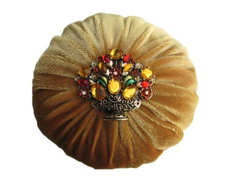 "2"" Gold Velvet Emery Sewing Pincushion with Rhinestone Decoration - Keep your needles, clean and sharp"