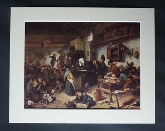 Antique Jan Steen Print of a 17th Century Dutch School, Available Framed, School Room Art, Classroom Picture, Dutch Teacher Gift, Chaos Art