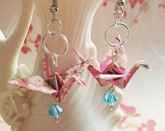 Pink Origami Crane Earrings with Swarovski Crystals, Origami Jewelry, Asian Jewelry, Harajuku Earrings, Handmade Paper Jewelry