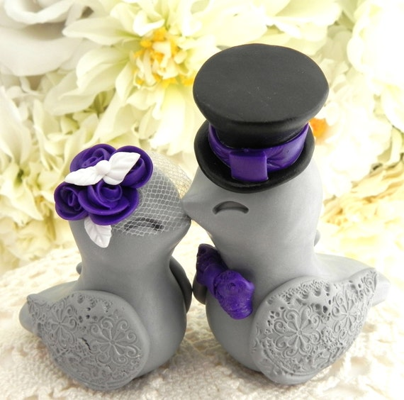 Love Birds Wedding Cake Topper, White, Purple, Black and Grey, Bride and Groom Keepsake, Fully Customizable
