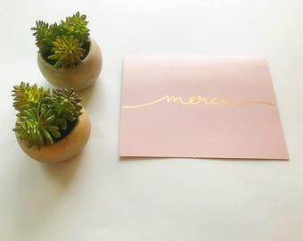 Thank You Card, Pretty Thank You Card, Modern Thank You Card, Merci Card, Hand Lettered Card, Cute Thank You Card, Funny Greeting Card