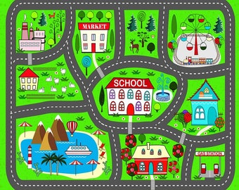 Playmat Car. Play City Play. practical rugs for kids.lovely green carpet for boys - Free Shipping