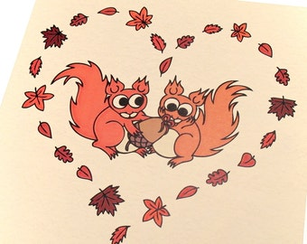 Squirrels in Love Card - blank card with cute red squirrels in a heart of autumn leaves. Suitable for anniversary or valentine's card
